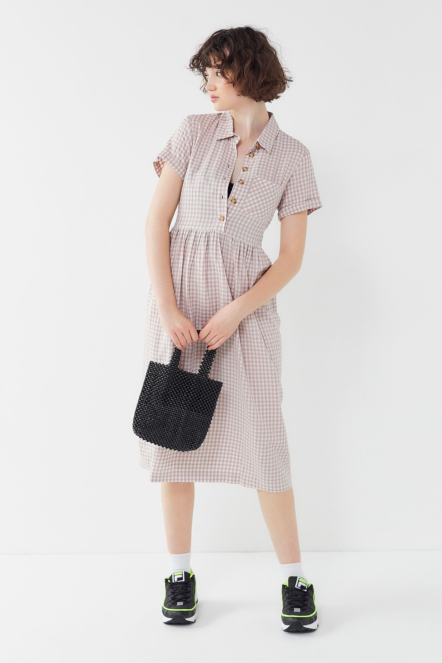 Uo Laila Seersucker Midi Shirt Dress Shirt Dress Midi Shirt