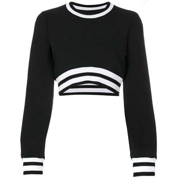 4bce321f0c2 Versus cropped sweater ($398) ❤ liked on Polyvore featuring tops, sweaters, crop  top, long sleeve shirts, shirts, black, cropped long sleeve shirt, shirt ...