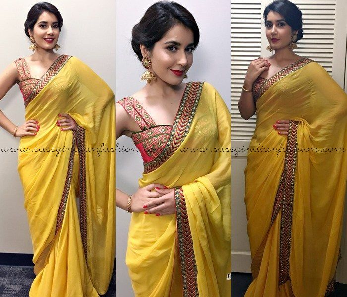 Rashi Khanna Yellow Saree Style And Makeup Simple Hairstyle For Saree Hair Style On Saree Indian Hairstyles