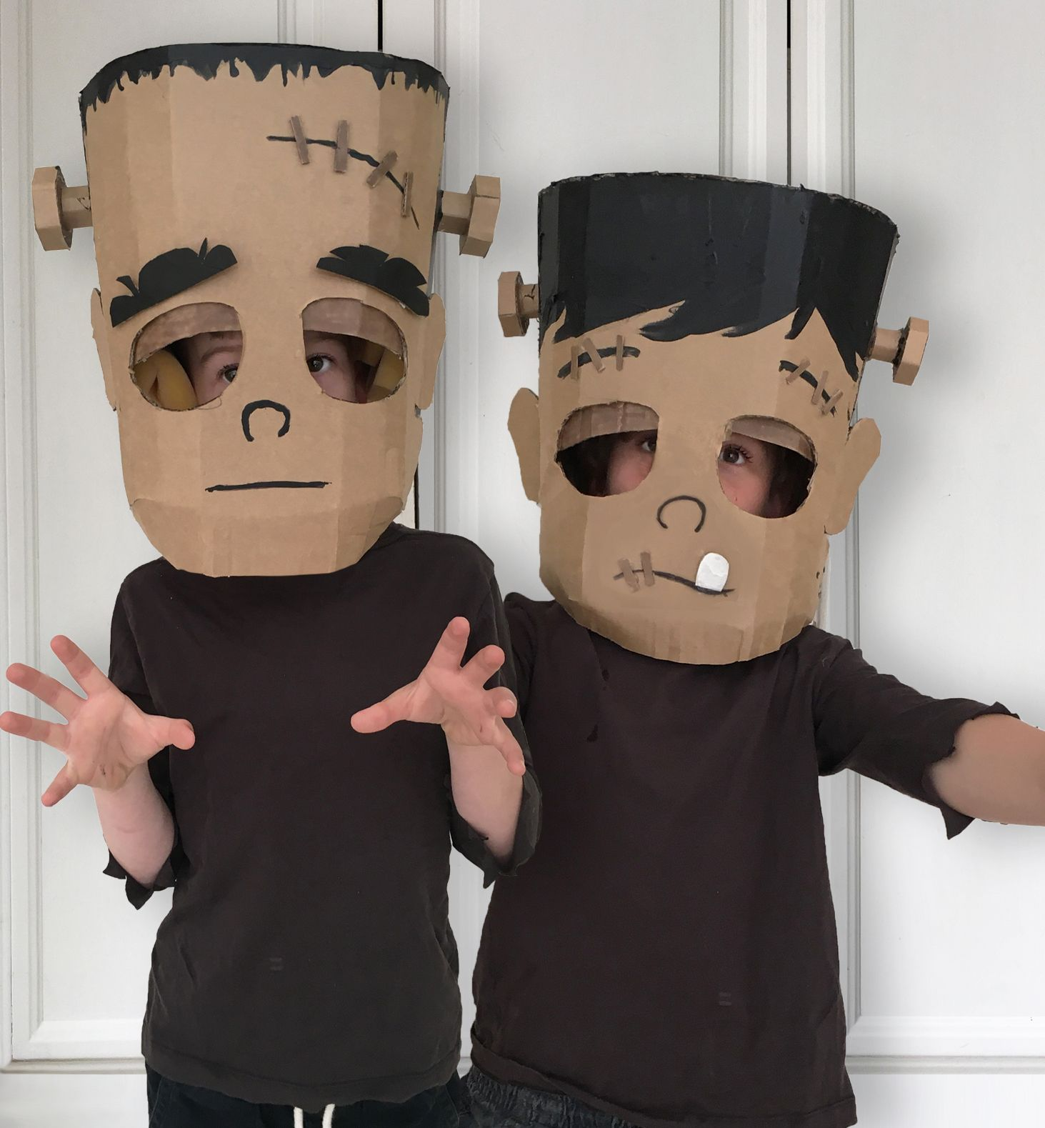 Diy Cardboard Frankenstein Costume Head Made From A