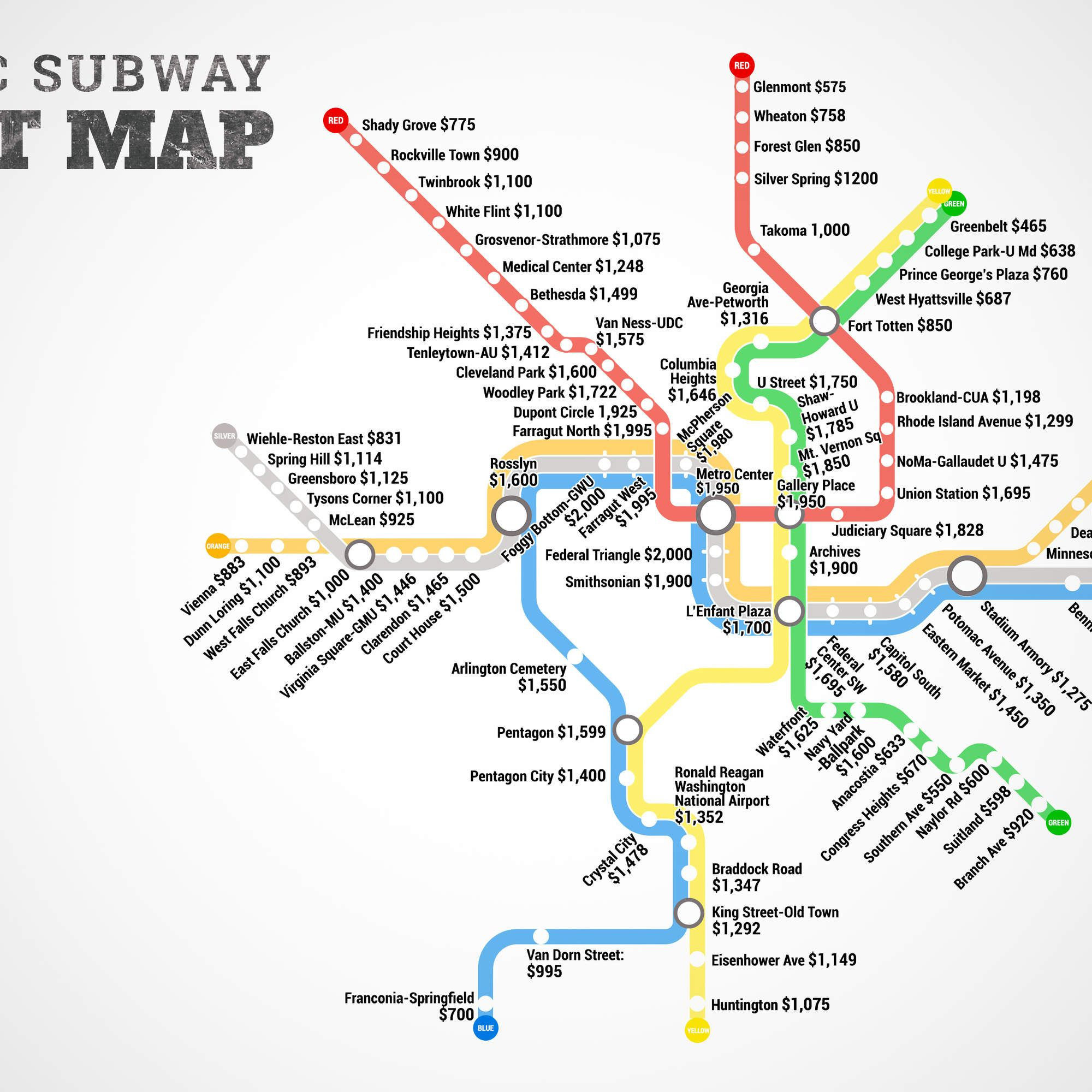 Washington Dcdc Subway Map.The Dc Metro Rent Map Which Stops Can You Afford Ny Apt Search