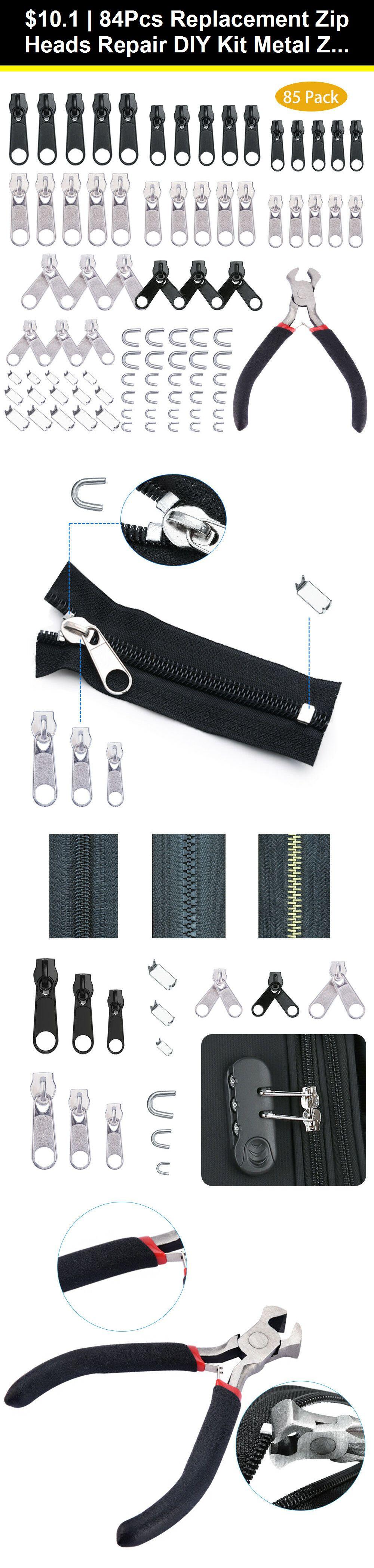 84Pcs Replacement Zipper Zip Repair Fixer Kit Metal Head Install Pliers Home DIY