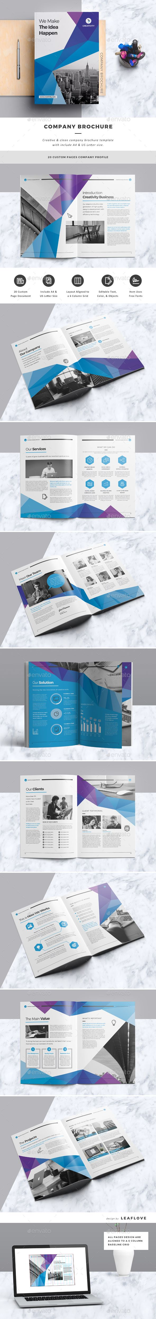 Company Brochure — InDesign Template #book #technology • Download ...