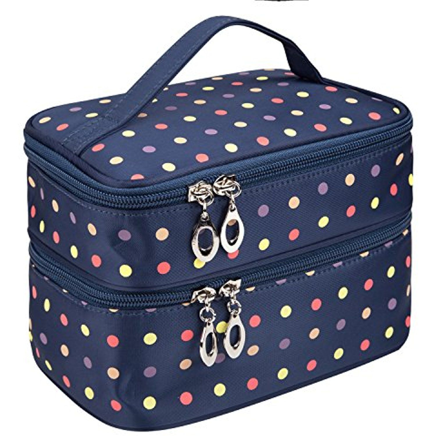 6268f1f895d0 Double Layer Traveling Makeup Bag Small Dots Travel Toiletry Cosmetic Bag  with Mirror Small size(Dark Blue)     Want additional info  Click on the  image.