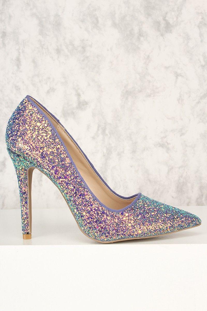 cd76f6c99a2c Sexy Ice Blue Multi Single Sole Pump High Heels Glitter Faux Leather