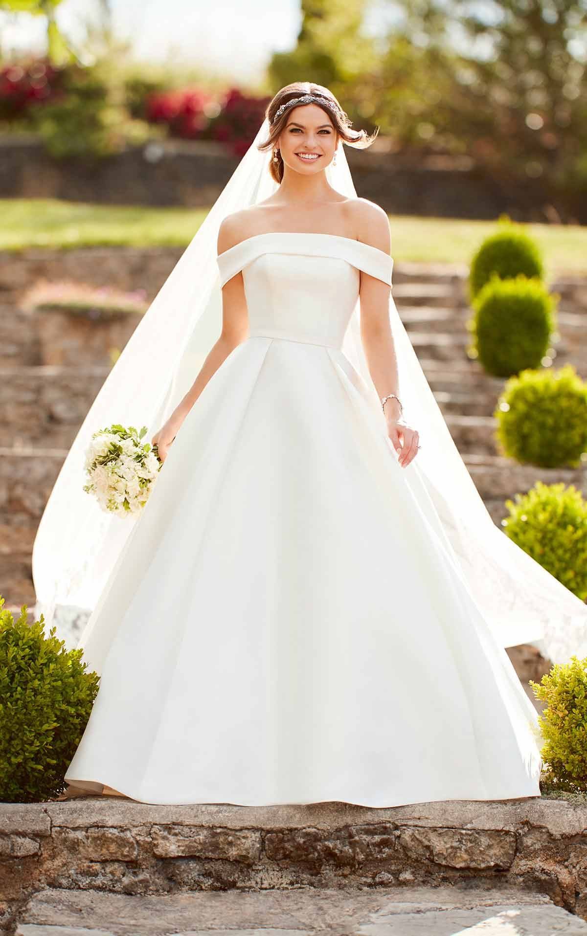 6d228c0f1477 Simple Ballgown Wedding Dress with Off-the-Shoulder Sleeves - Full Skirts,  Ball