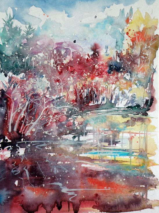 Mystic Landscape Painting Landscape Watercolor