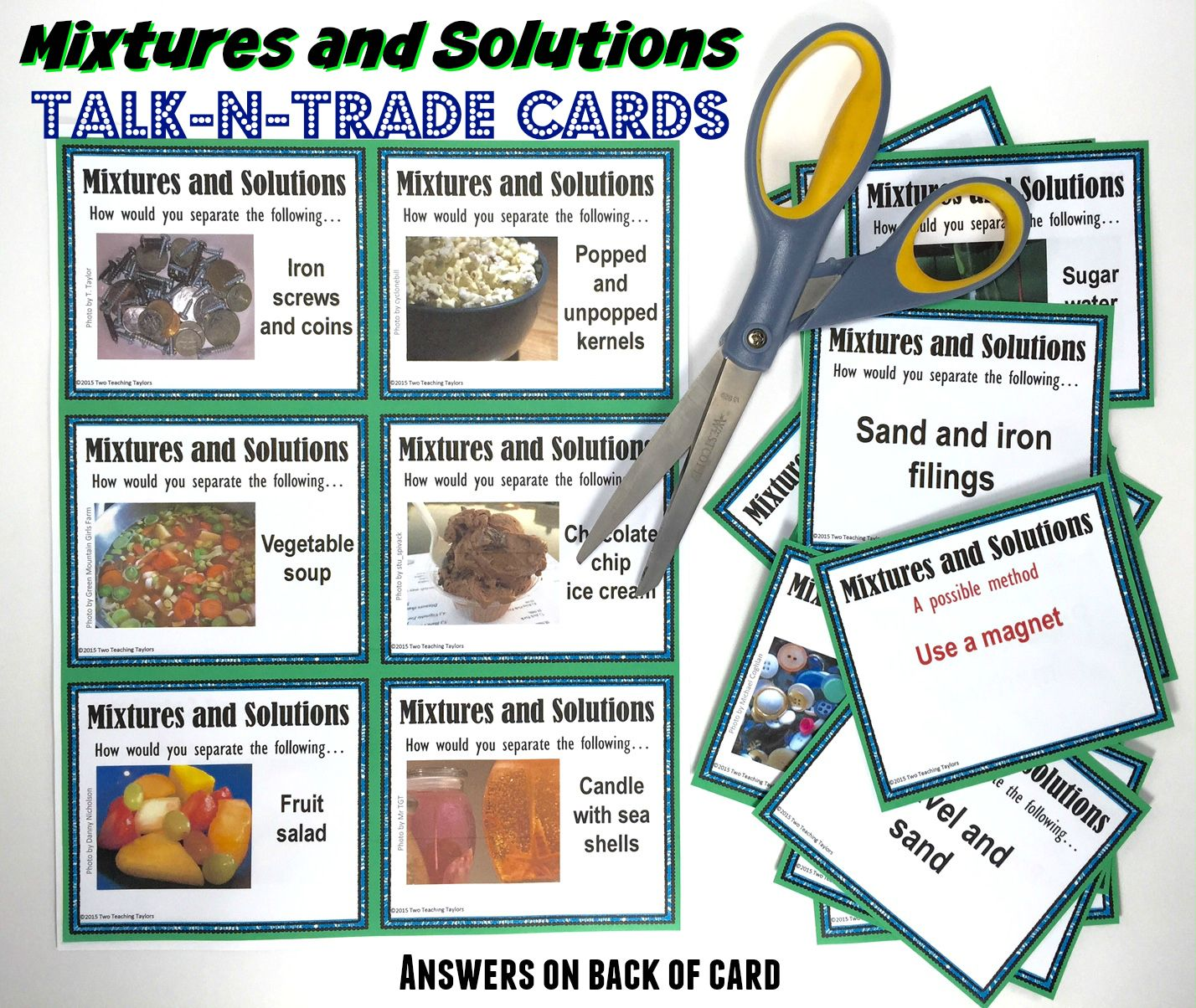 Separating Mixtures And Solutions Question Prompts Activity Print And Digital Solutions And Mixtures Separating Mixtures Task Card Activities