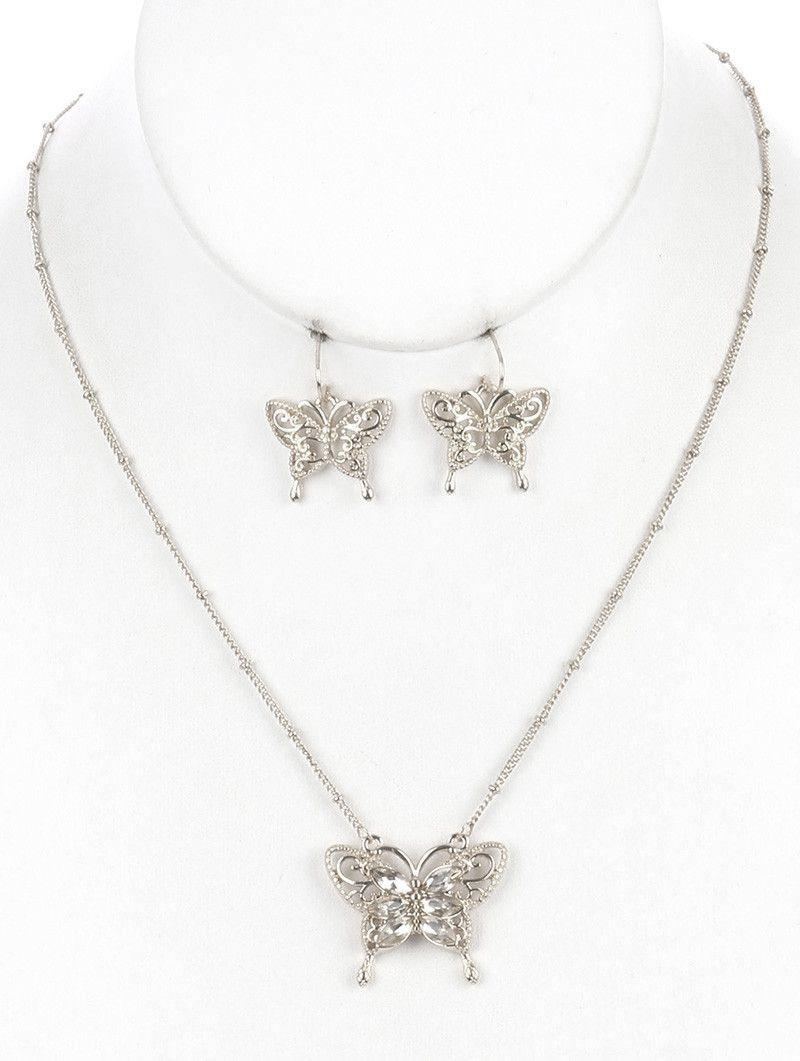 Necklace And Earring Set Filigree Metal Butterfly Bib Crystal Stone Cutout Textured Link Chain Fish Hook 16 Inch Long 1 Inch Drop