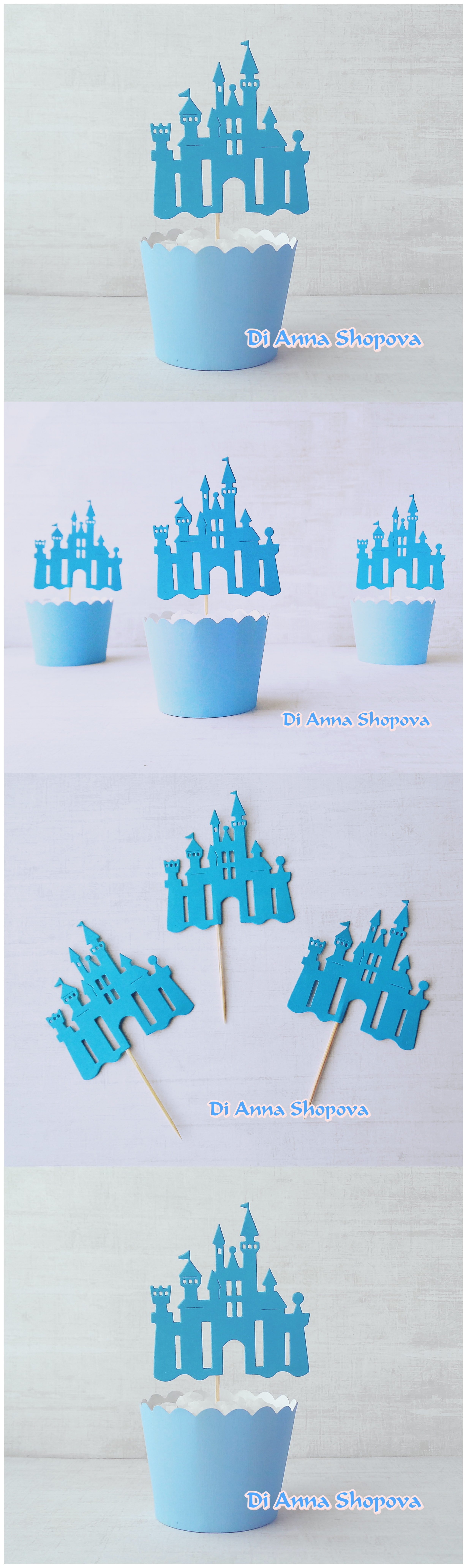 items similar to 12 x frozen blue castle cupcake toppers princess birthday party table decor princess party centerpieces food picks on etsy - Blue Castle Decor