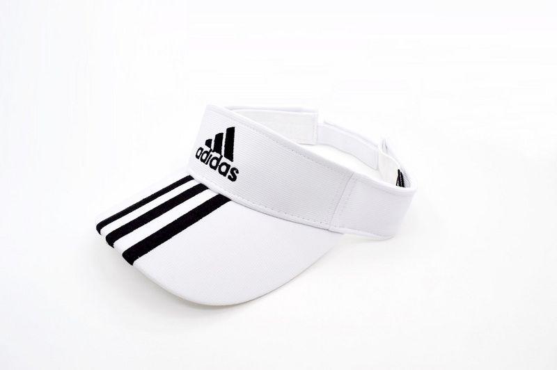 7eba2ae5 Mens / Womens Adidas Basic Logo Golf Tour Essential 3 Stripe Embroidery  Touch-Fasten Size Adjustable Visor Cap - White