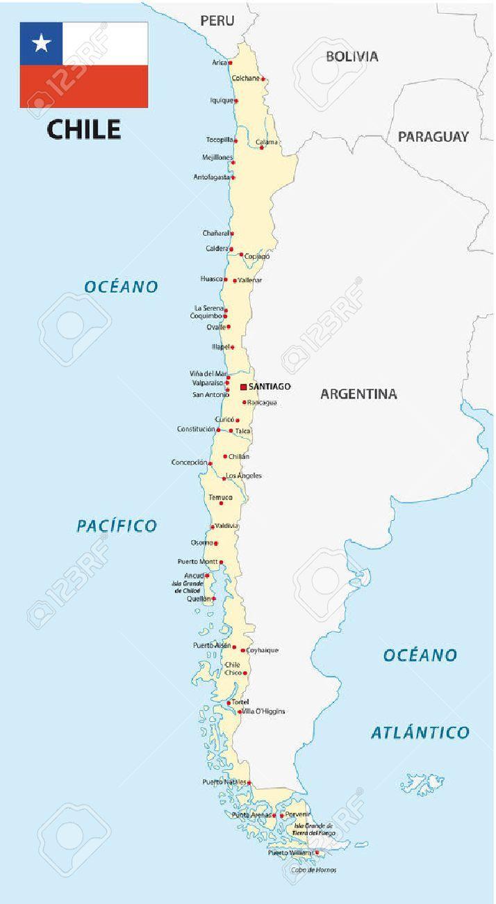 Mapa Y Bandera De Chile Mapa Politico De Chile Bandera De Chile