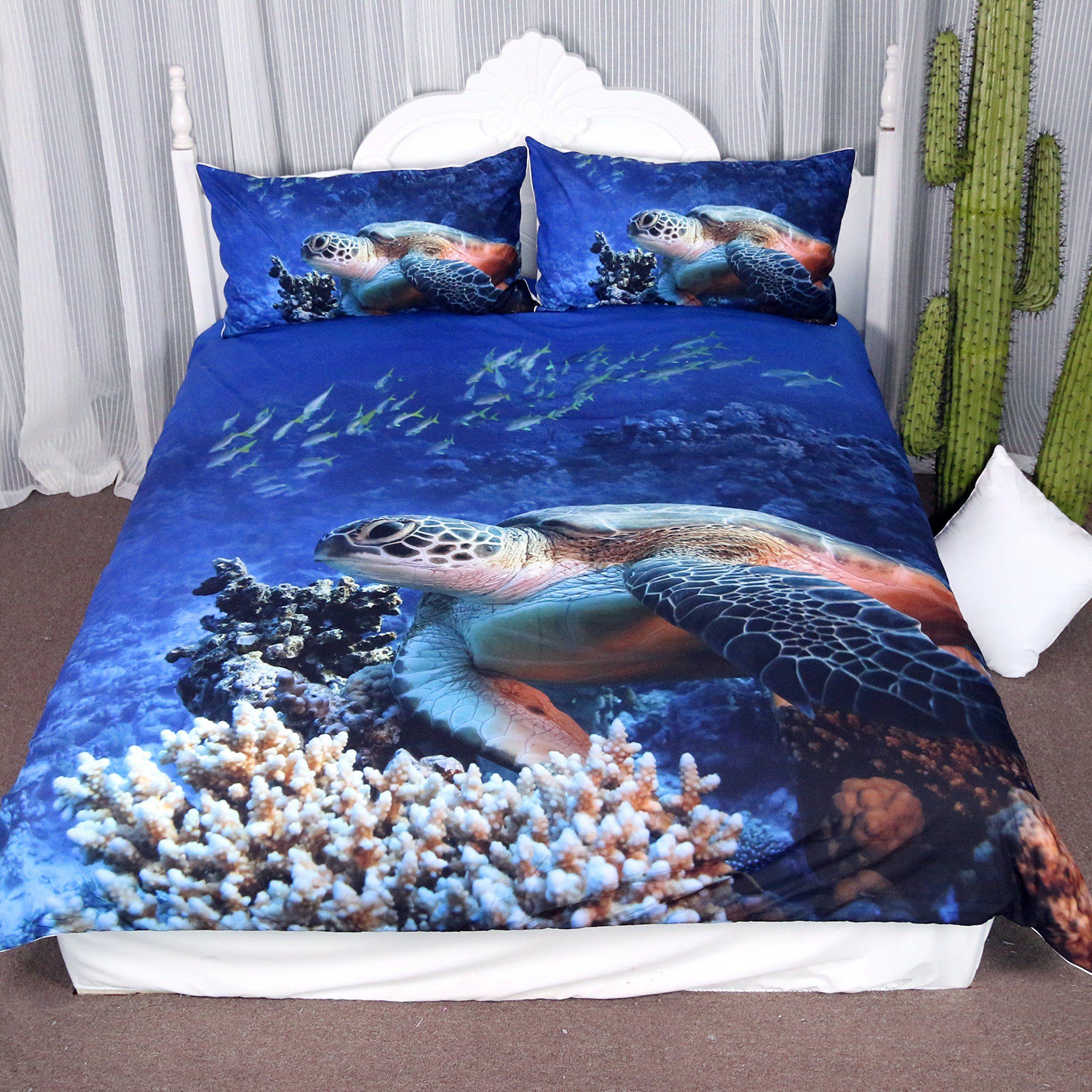 Fish Quilted Bedspread /& Pillow Shams Set Tropical Turtle Water Print