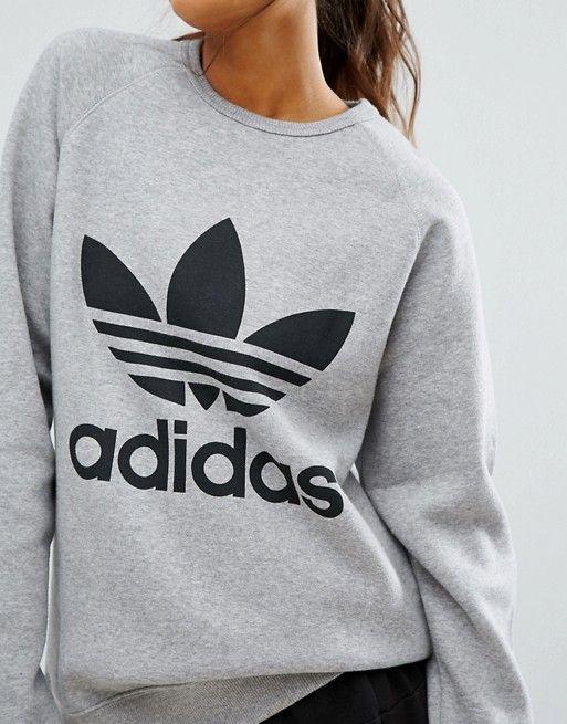 b32d4b8c9037 Adidas Originals gray trefoil boyfriend sweatshirt