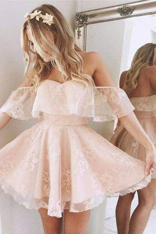Chicloth A-Line Lace Off-Shoulder Short Prom Dresses Pearl Pink Homecoming Dress