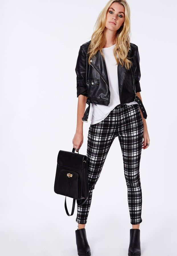 Monochrome Tartan Skinny Fit Trousers Black  http://www.shopstyle.com/action/loadRetailerProductPage?id=469101892&pid=uid3601-7931801-85  #fashion #style #beauty #hair #makeup #accessories #clothes #shoes #winteraccessories #winterfashion #winterstyle #winteroutfits #winteroutfitideas #outfit #outfitideas #outfitidea #ootd #outfitoftheday #outfitinspiration #casualoutfit #dressyoutfit #daytonightoutfit #edgyoutfit #printedtrousers #printedpants #ankleboots #satchelbag #handbag #leatherjacket
