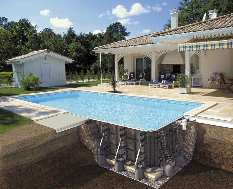 construire sa piscine ext rieure de forme rectangulaire et am nager un jardin moderne piscines. Black Bedroom Furniture Sets. Home Design Ideas