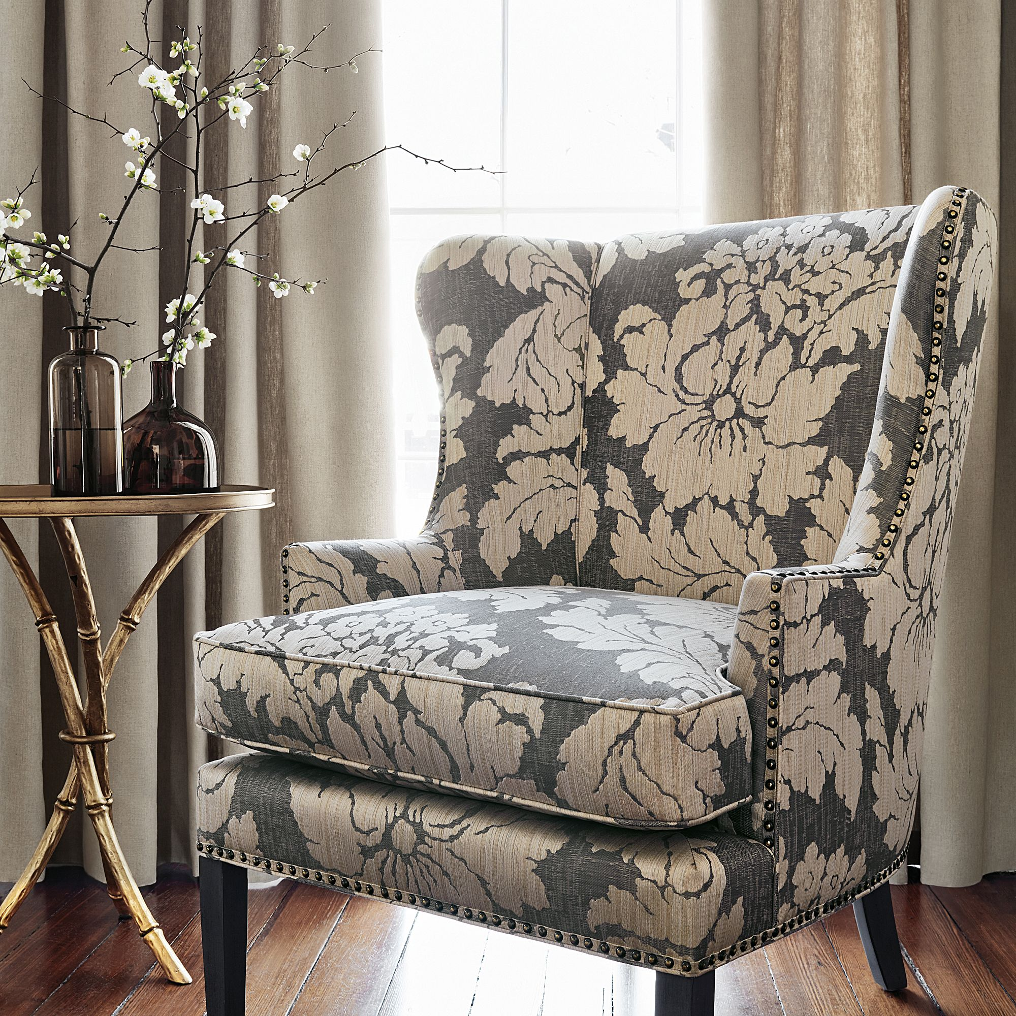 Monterey Wing Chair In Caserta Damask Woven Fabric In
