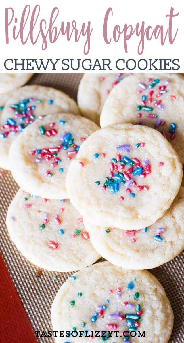 Soft, chewy sugar cookies that tastes just like Pillsbury. A quick under 30-minute cookie recipe with no refrigeration required. #quickcookierecipes