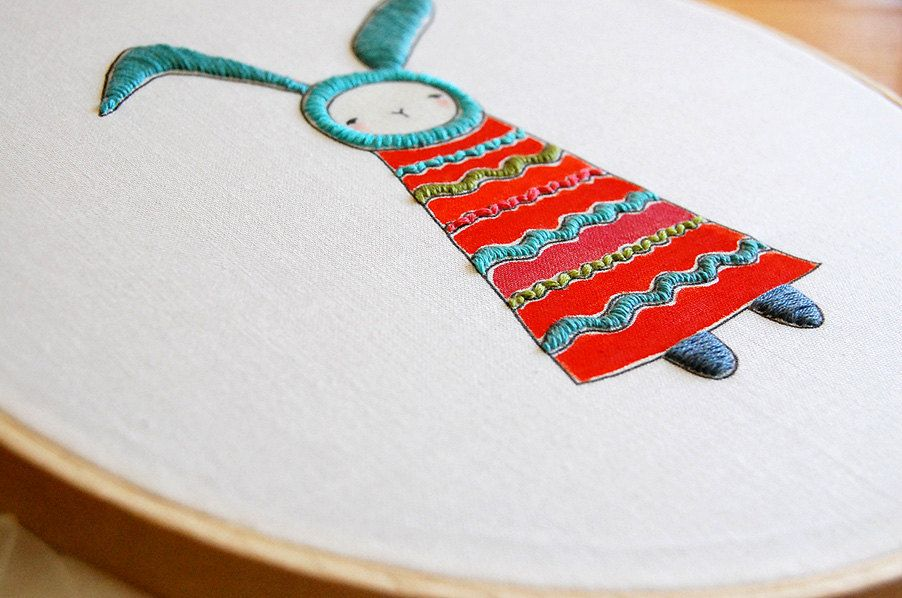 Bunnie Embroidery stitching PATTERN. via Etsy.