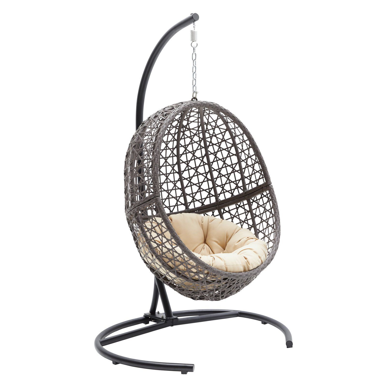 Belham Living Resin Wicker Hanging Egg Chair with Cushion