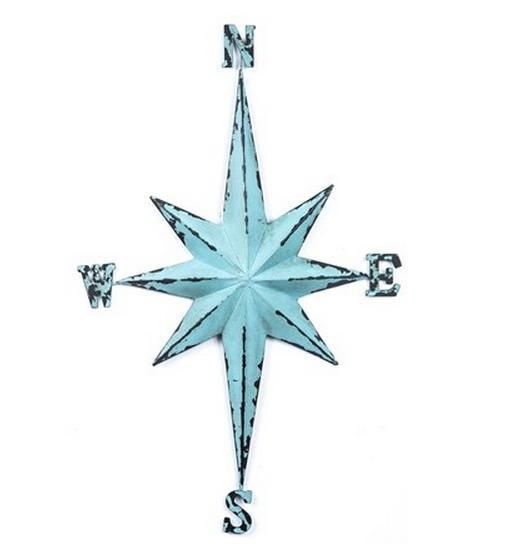 Blue Vintage Direction Compass Beach Nautical Star metal Sign Wall ...