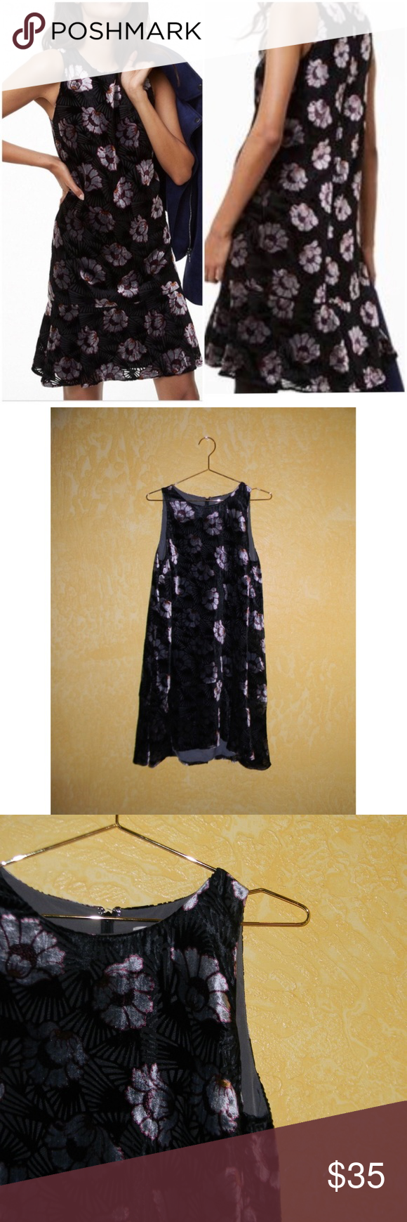 29956e99cde5 NWT Loft Iced Floral Velvet Swing Dress Size medium, new with tags, no flaws
