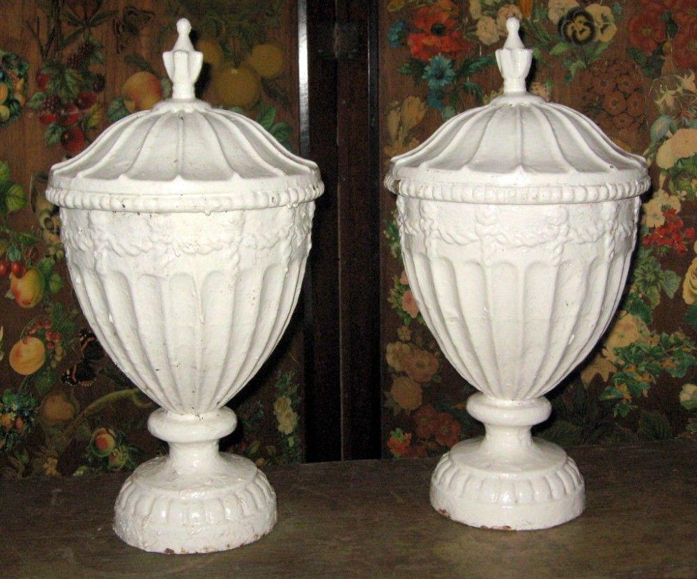 Pair+of+cast+iron+lidded+urns
