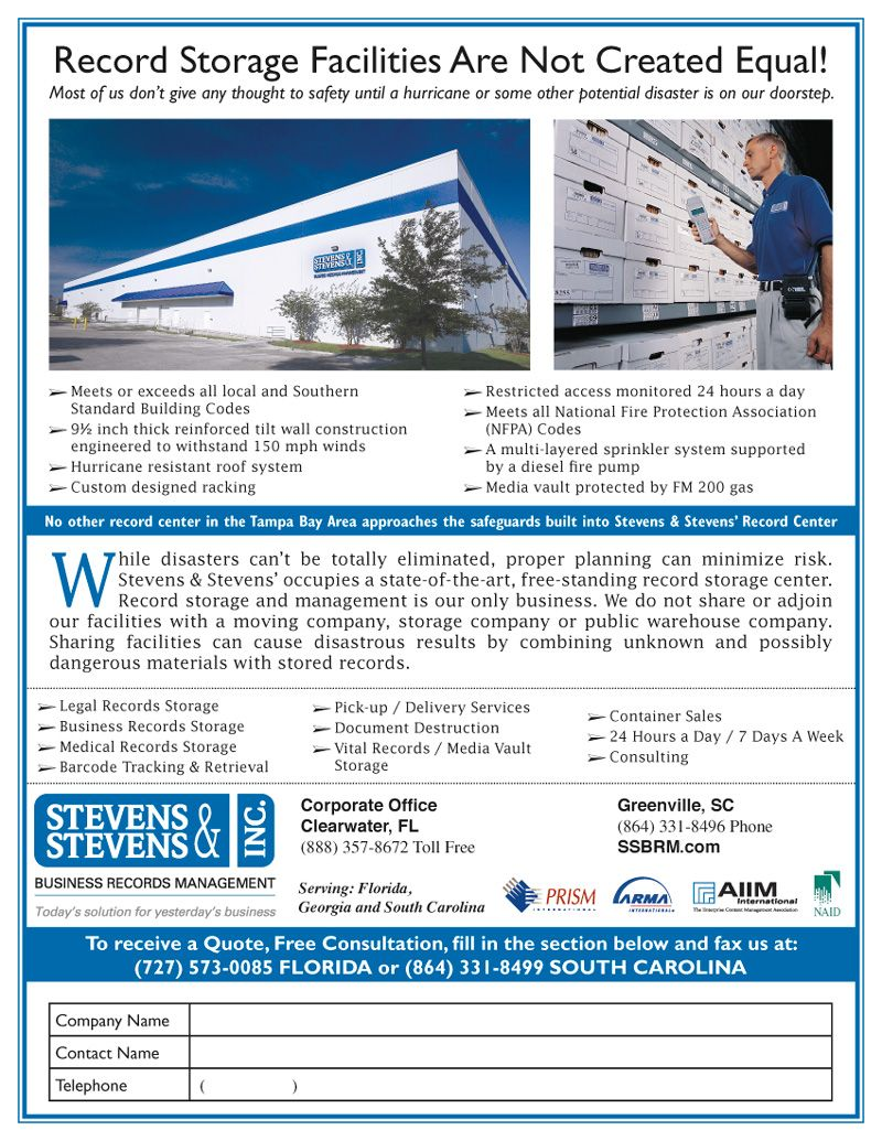 A Flyer For Stephens Stephens Storage Facilities Fire
