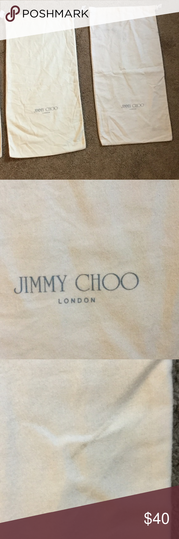 """Jimmy Choo Dust Cover for Boots Jimmy Choo Dust Cover for Boots, 25"""" by 12.75"""", has some dark marks, see pictures 2,3,4, & 5, priced accordingly Jimmy Choo Bags"""