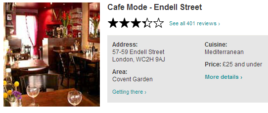 50 OFF Total Bill Cafe Mode Covent Garden WC2 http