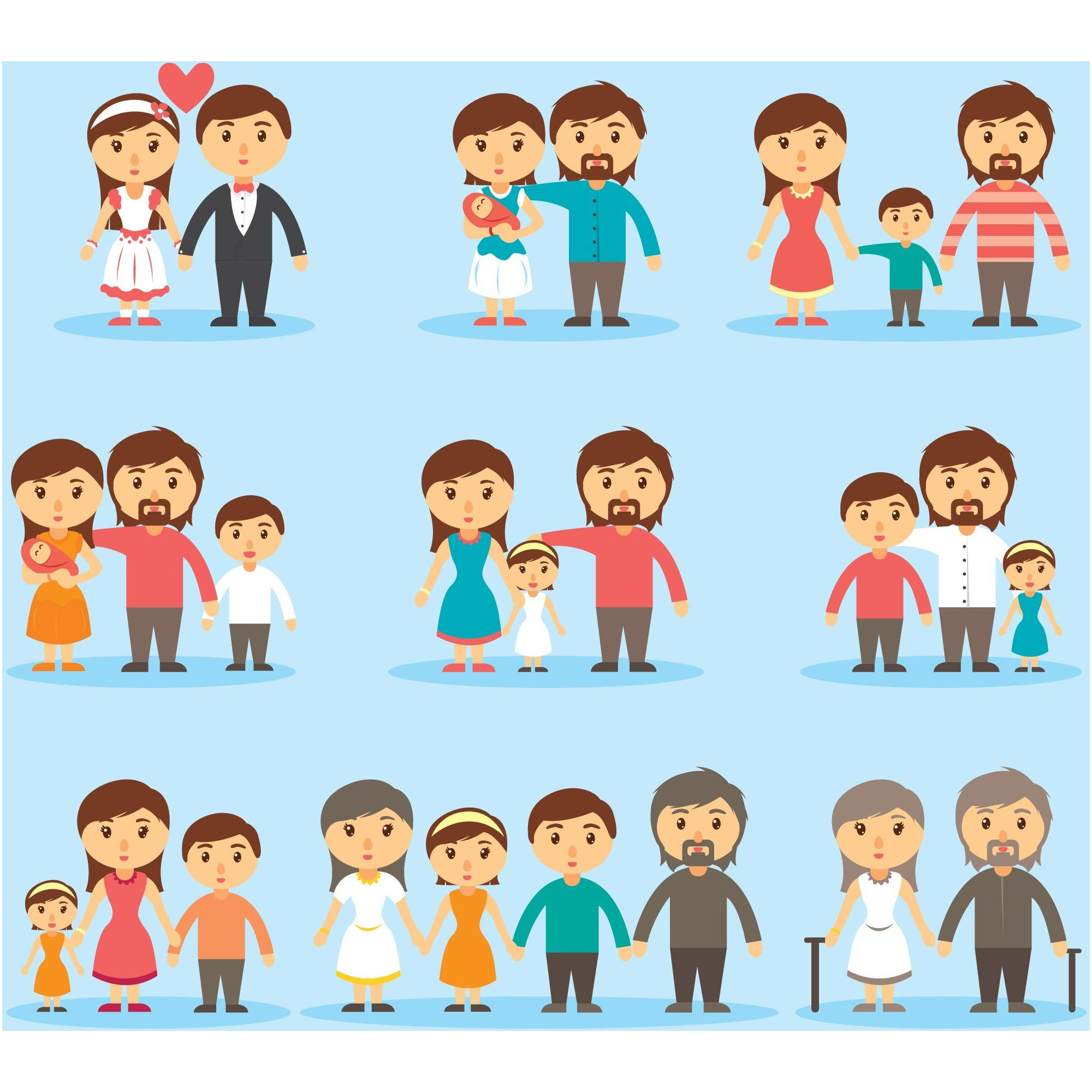 Happy Family Day Cartoons Icons Collection Icon Collection