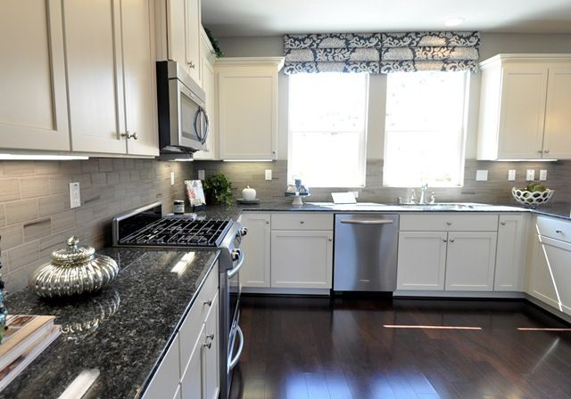 White Kitchen Grey Countertop dark gray kitchen walls with white cabinets | centsational girl