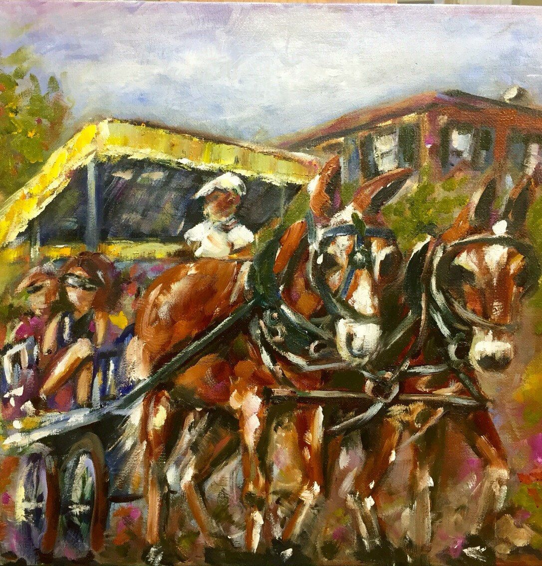 Carriage ride charleston south carolina 12x12oil painting