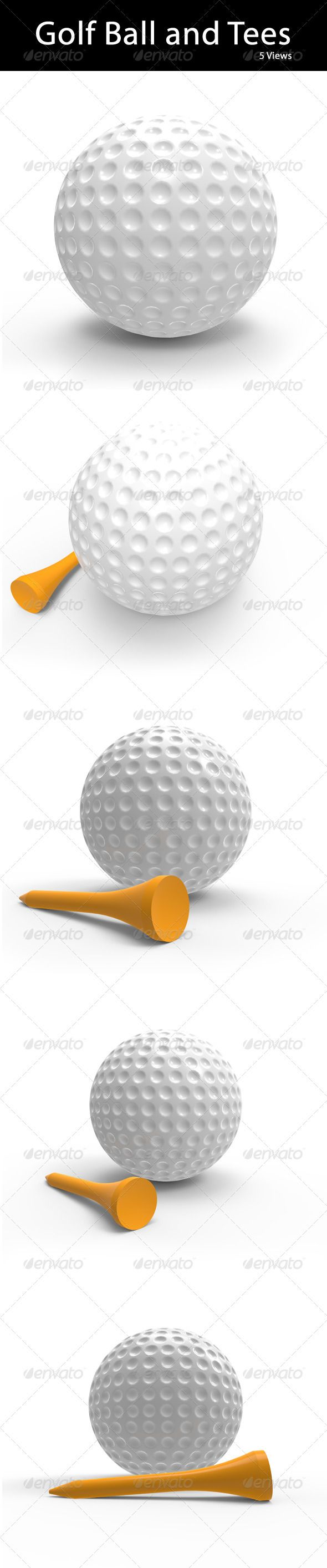 Golf Ball With Tee In Orange Color 3d Rendered Graphics In 5 Views 3400x3400px Resolution In 100 Transparentpng Golf Ball Ball 3d Design Projects