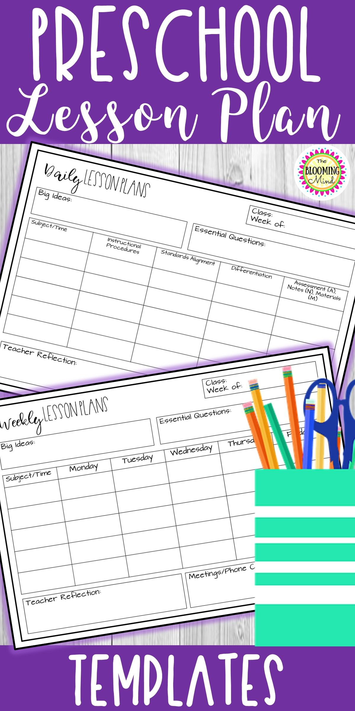 FREE editable lesson plans page templates. These WEEKLY and DAILY ...