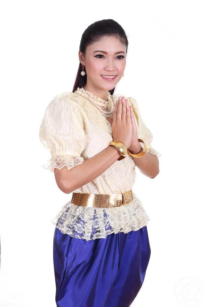 Thai Woman Wearing Typical Thai Dress Royalty Free Stock