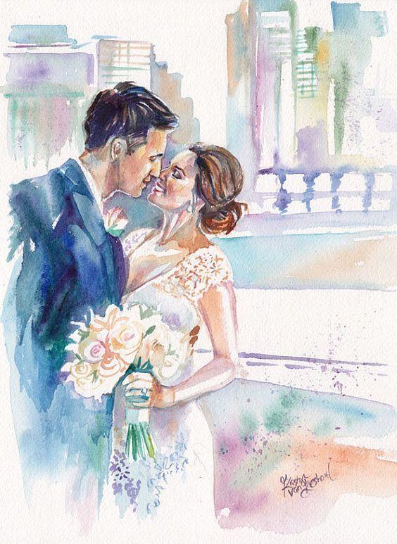 Картинки на свадебную тему, жених и невеста   Акварельные ...