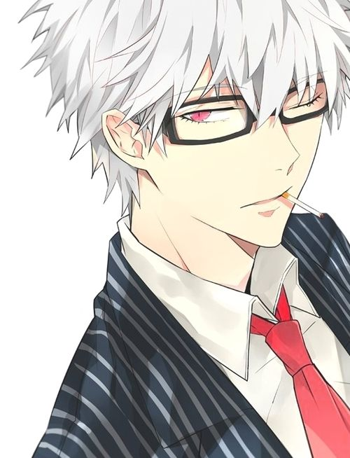 Kace Hair White Eyes Red Kace Is A Vampiric Prince Who Was Banished From The Kingdom Who Refused To Anime Glasses Boy Cute Anime Guys Anime Guys With Glasses
