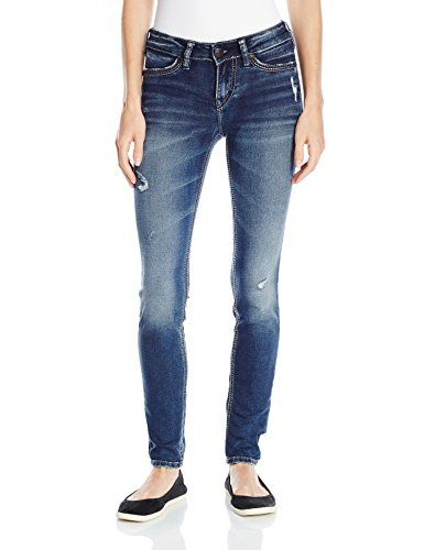 Silver Womens Suki Joga Destructed Mid Rise Super Skinny Jean Silver Jeans Co