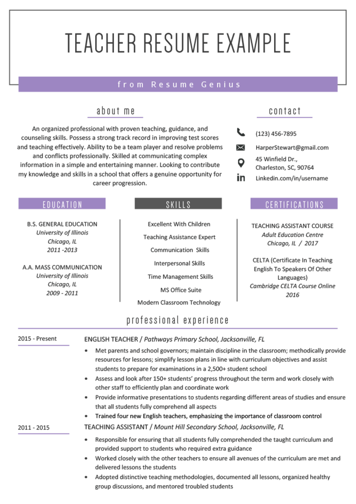 The Best Teaching Cv Examples And Templates Teacher Resume Template Free Teaching Resume Teacher Resume Examples