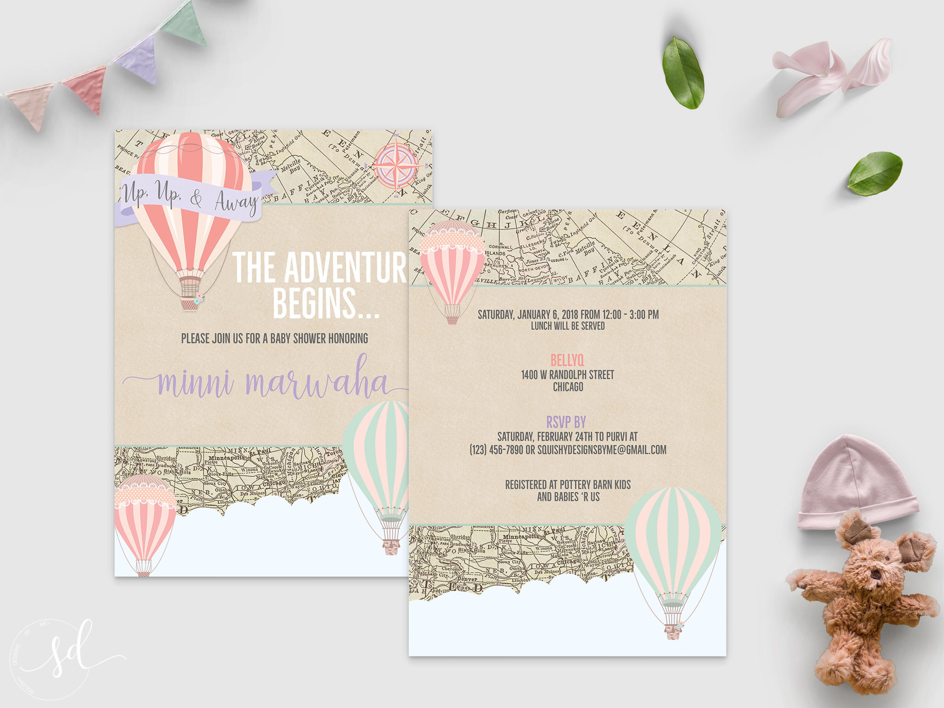 Hot Air Balloon Baby Shower Invitation Vintage World Travel Theme