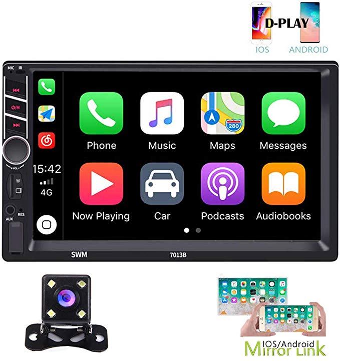 """Rear Camera Car Stereo Radio Audio Receiver Double 2 Din 7/"""" Touch Screen"""