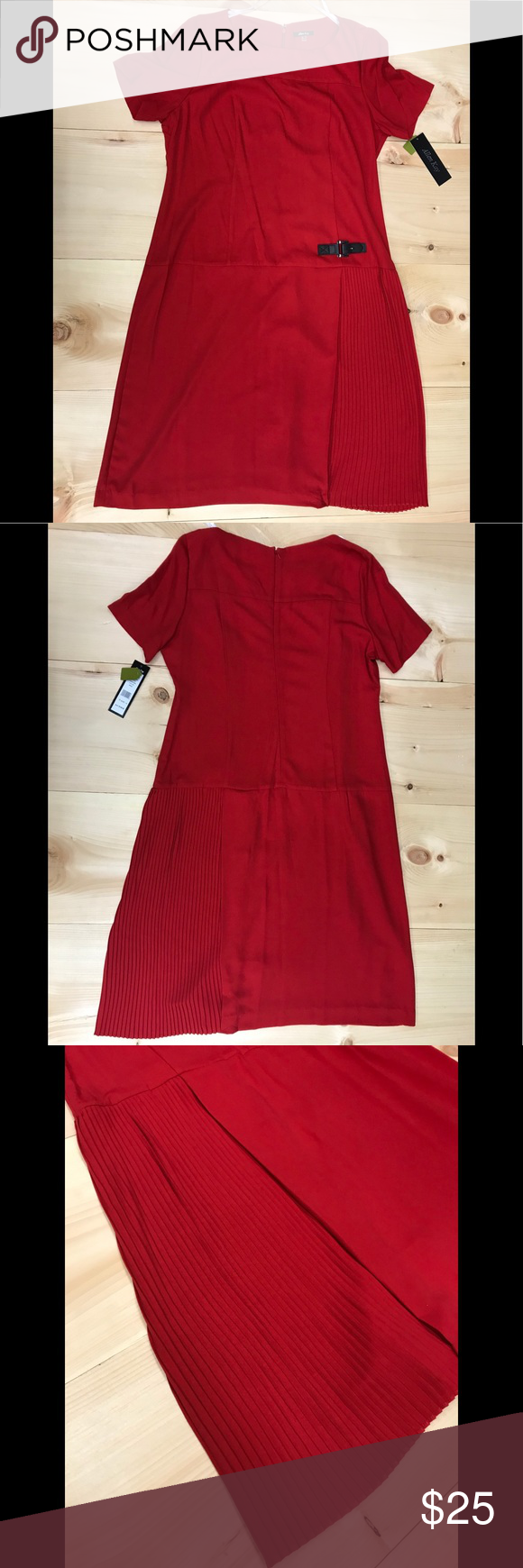 Allen kay womenus short sleeve dress buckled red boutique my