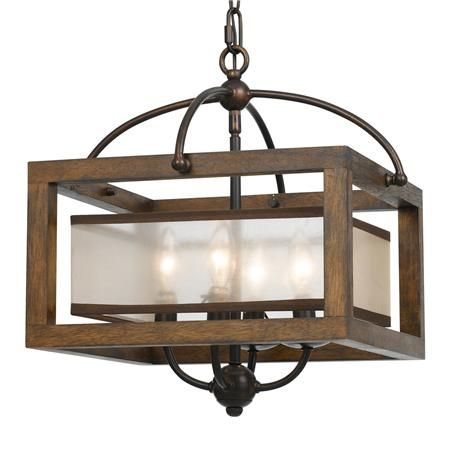Square Wood Frame And Sheer Shade Ceiling Light In 2019
