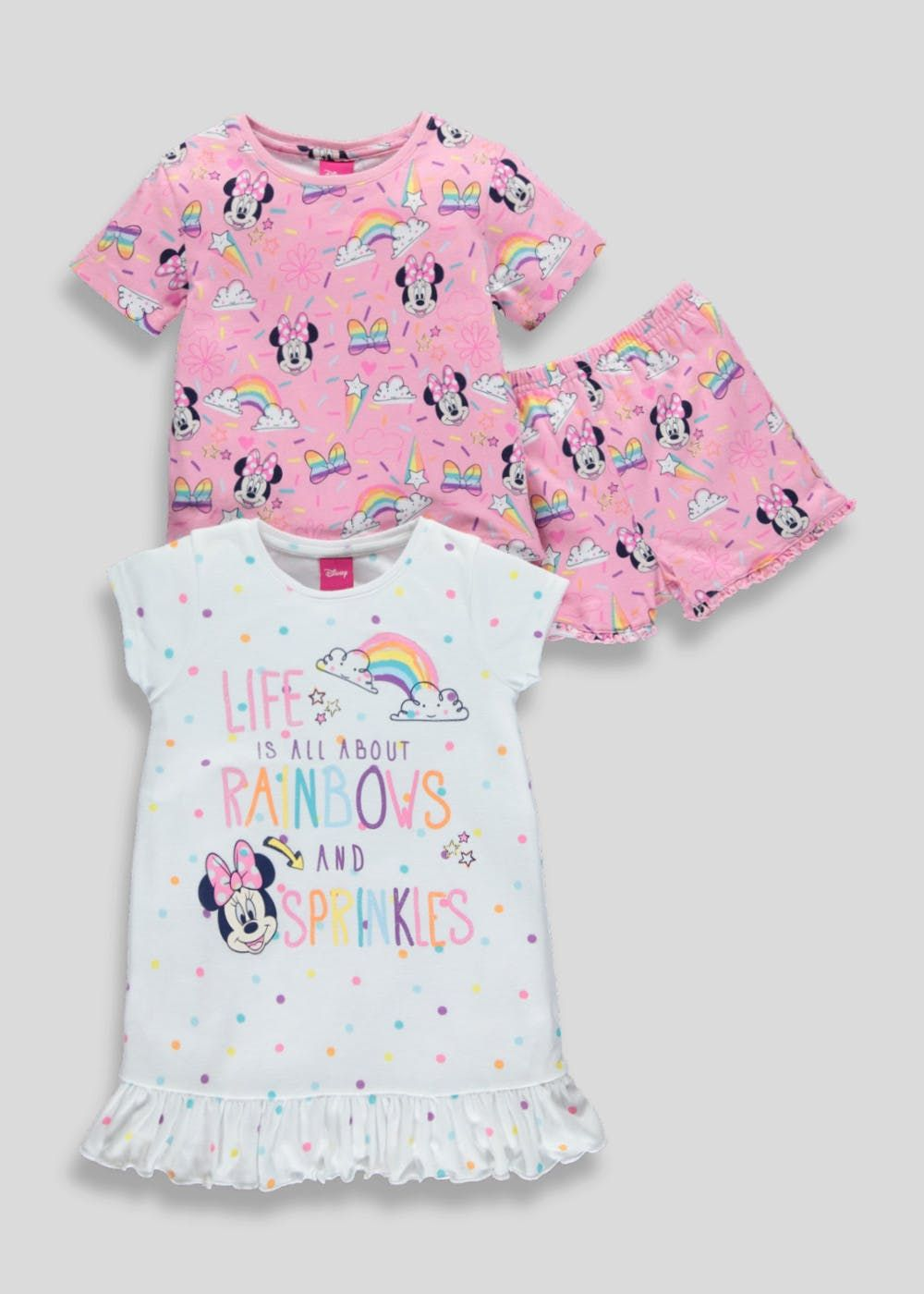84bda70f9f Update their sleep staples with this adorable Minnie Mouse duo. The set  features 100% cotton short pyjamas