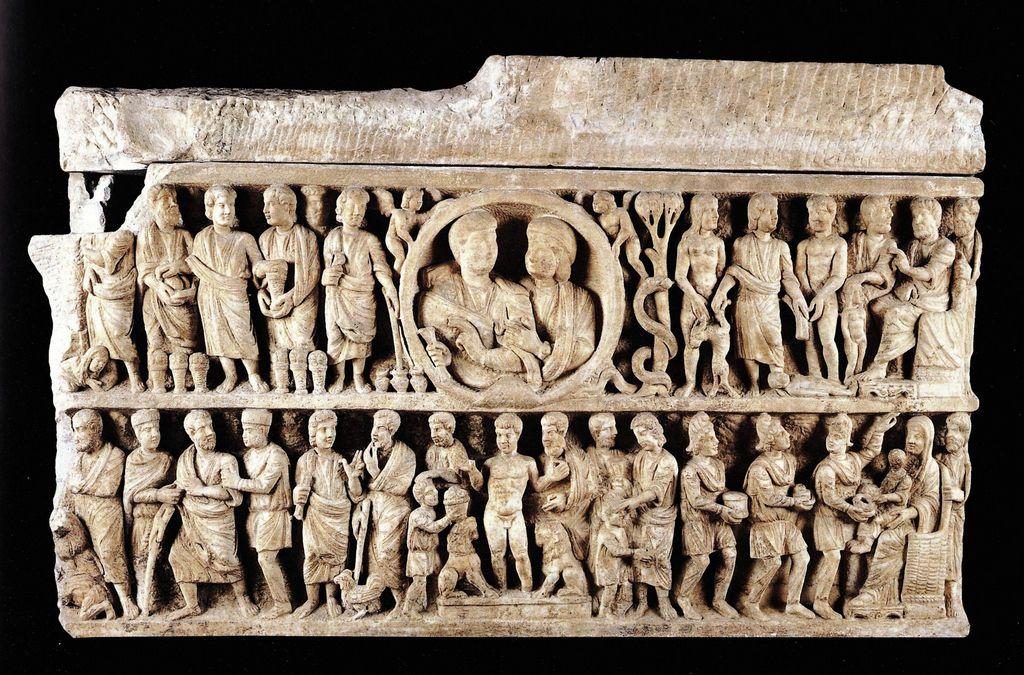 Matrimonio Romano Cristiano : Sarcófago dogmático roma siglo iv muestra la narración