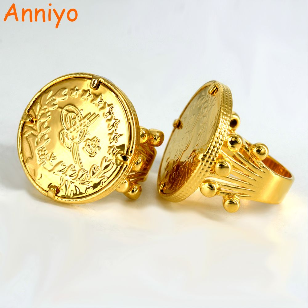 Click to Buy << Anniyo New Turkish Coin Ring Gold Color and Copper ...