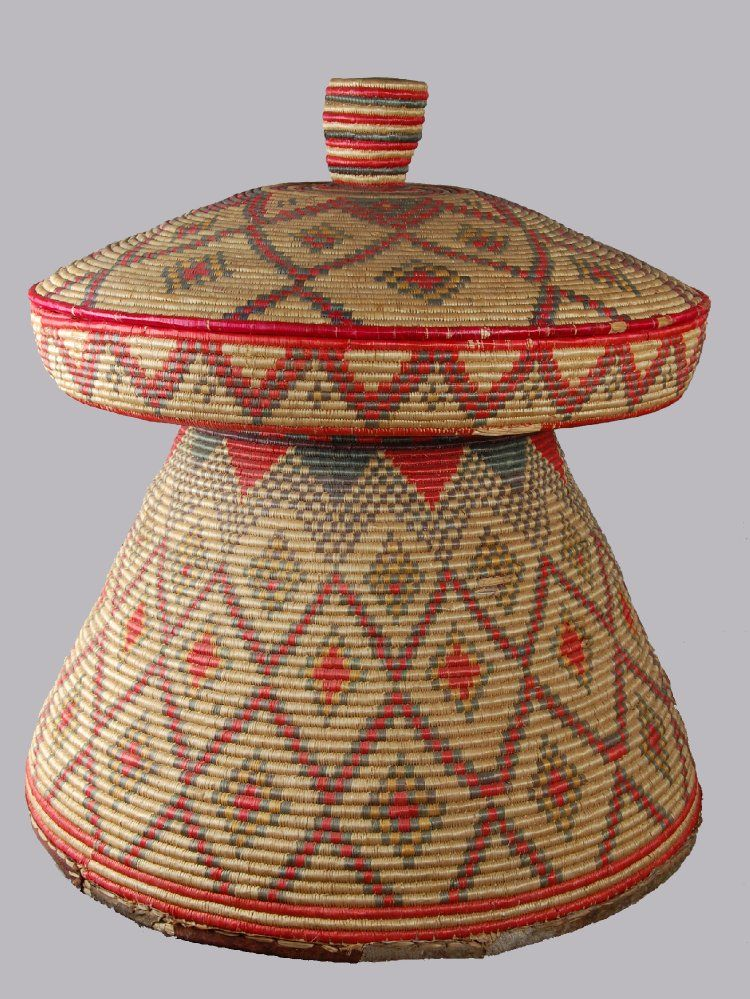 "Africa | Amhara basketry food tray/table ""Mosob"" from Ethiopia. 