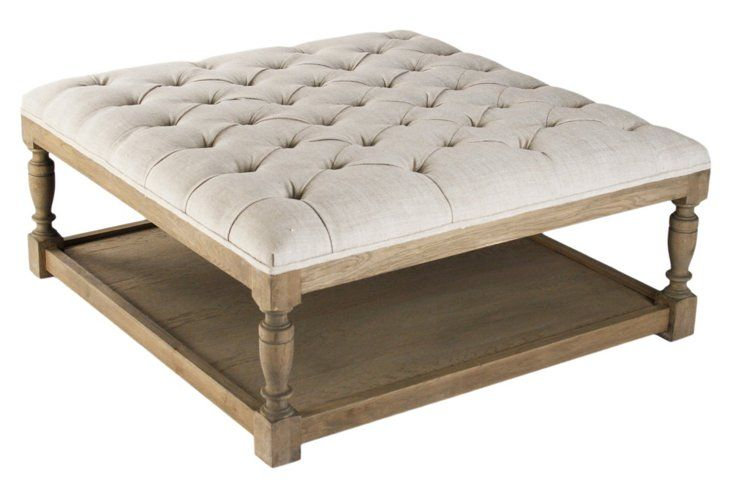 Bridget Tufted Ottoman One Kings Lane 36 X 36 X 17 Tufted Ottoman Coffee Table Furniture Tufted Ottoman